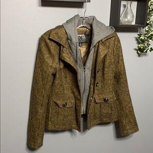 Blanc Noir Brown Tweed Utility Jacket sz S